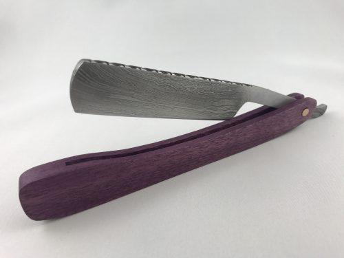purple heart Damascus steel straight razor