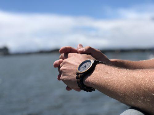 Forever Fresh wood watch beside ocean