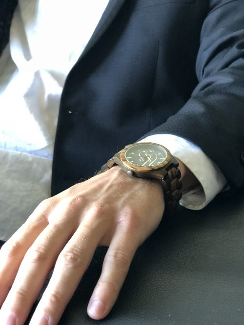 curtis moody in suit wearing forever fresh wood watch
