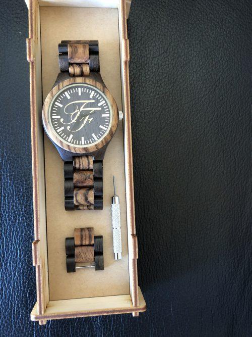 wood watch in wood case